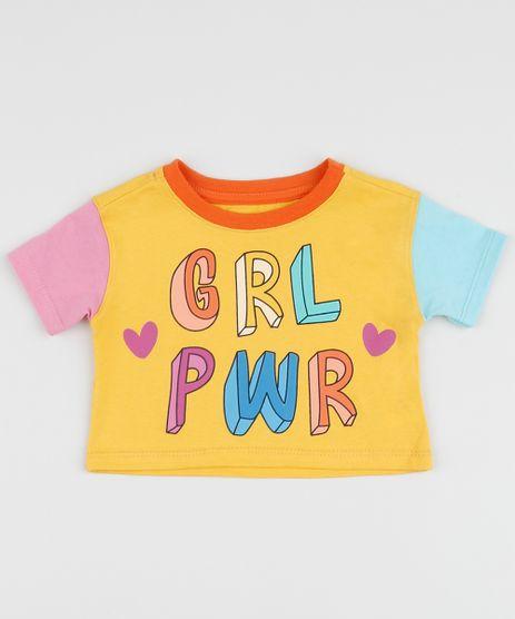 Blusa-Infantil--Girl-Power--Manga-Curta-Decote-Redondo-Amarela-9961490-Amarelo_1
