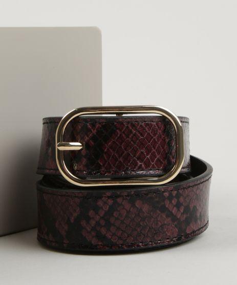 Cinto-Feminino-Medio-Texturizado-Cobra-com-Fivela-Arredondada-Vinho-9922825-Vinho_1