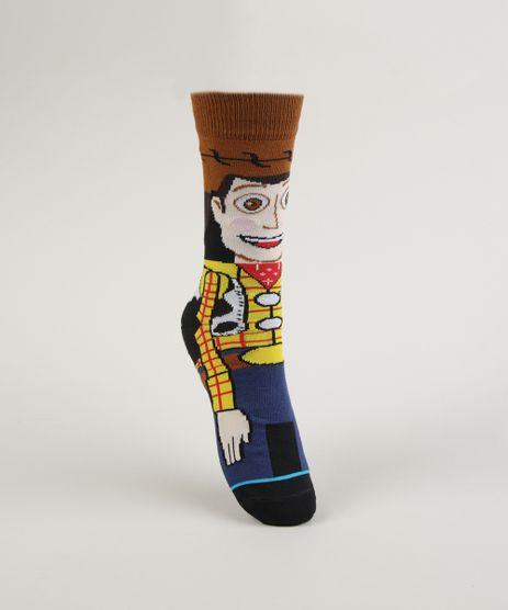 Meia-Masculina-Cano-Alto-Divertida-Woody-Toy-Story-Estampada-Marrom-9957612-Marrom_1