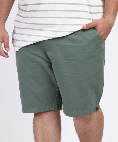 Bermuda-de-Sarja-Masculina-Plus-Size-Reta-Chino-Verde-Escuro-9961868-Verde_Escuro_1