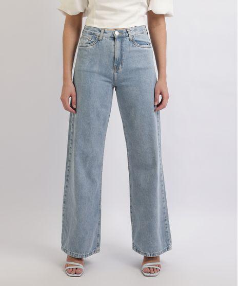 Calca-Jeans-Feminina-Mindset-Wide-Reta-Cintura-Alta-com-Bolsos-Azul-Medio-9960920-Azul_Medio_1