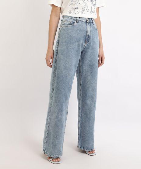 Calca-Jeans-Feminina-Mindset-Wide-Reta-Cintura-Alta-Marmorizada-com-Bolsos-Azul-Claro-9960920-Azul_Claro_1