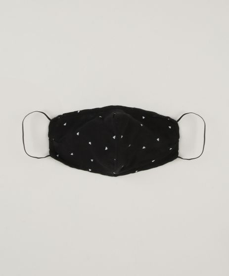 Mascara-de-Tecido-Reutilizavel-para-Protecao-Individual-Estampada-de-Triangulos-Preta-9953653-Preto_1