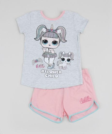 Pijama-Infantil-Lol-Unicornio-Manga-Curta-Cinza-Mescla-Claro-9956720-Cinza_Mescla_Claro_1