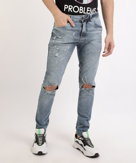Calca-Jeans-Masculina-Skynny-Destroyed-com-Bolsos-Azul-Medio-9961138-Azul_Medio_1