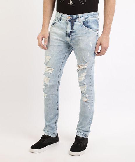 Calca-Masculina-Jeans-skinny-Destroyed-com-Bolsos-Azul-Claro-9961140-Azul_Claro_1
