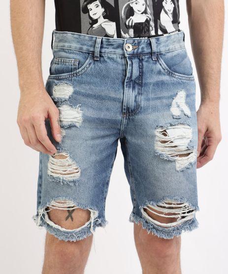 Bermuda-Jeans-Masculina-Slim-Destroyed-com-Bolsos-Azul-Medio-9961141-Azul_Medio_1