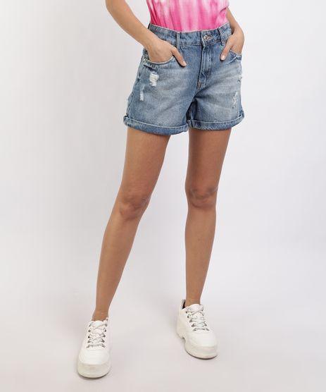 Short-Jeans-Feminino-com-Desfiados-e-Bolsos-Cintura-Alta-Azul-Escuro-9952515-Azul_Escuro_1