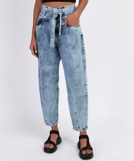 Calca-Jeans-Feminina-Baggy-Cintura-Super-Alta-Marmorizada-com-Faixa-para-Amarrar-Azul-Claro-9961220-Azul_Claro_1