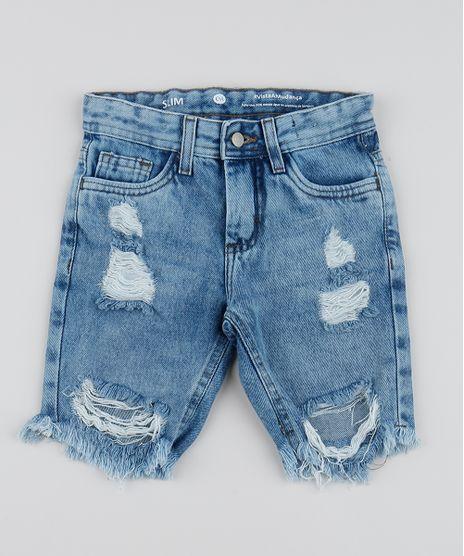 Bermuda-Jeans-Infantil-Slim-com-Bolsos-Destroyed-Azul-Medio-9961740-Azul_Medio_1