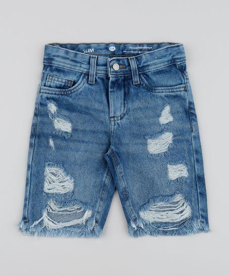 Bermuda-Jeans-Infantil-Slim-com-Bolsos-Destroyed-Azul-Medio-9961741-Azul_Medio_1