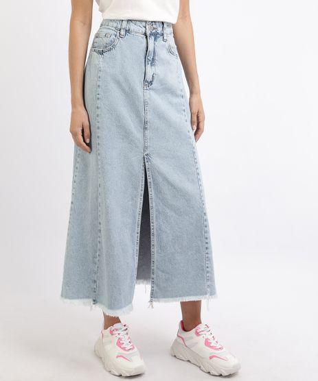 Saia-Jeans-Feminina-Longa-com-Fenda-e-Barra-Desfiada-Azul-Claro-9932898-Azul_Claro_1