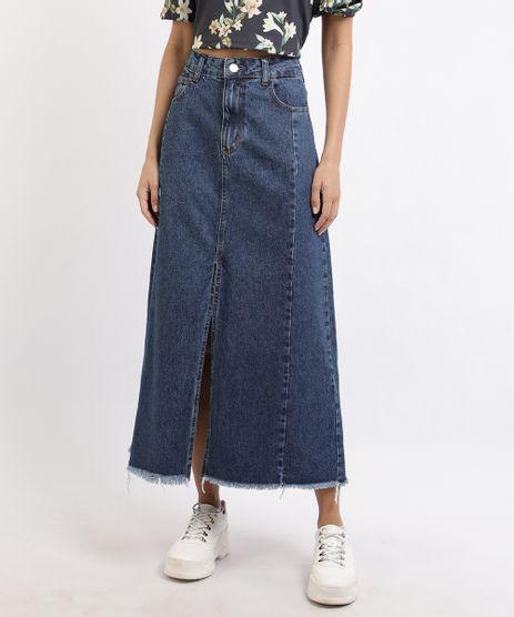 Saia-Jeans-Feminina-Longa-com-Fenda-e-Barra-Desfiada-Azul-Escuro-9932899-Azul_Escuro_1