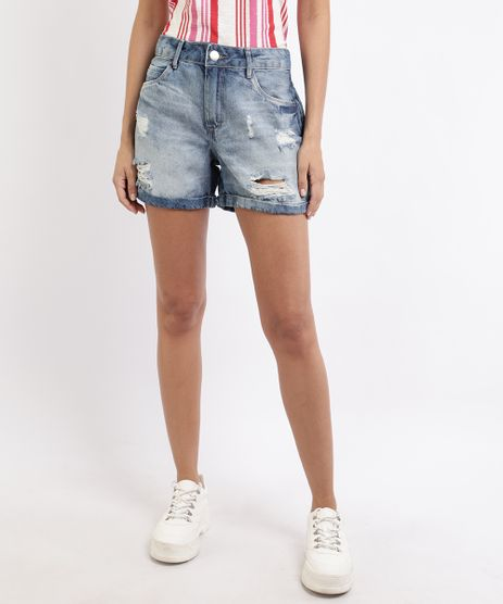 Short-Jeans-Feminino-Cintura-Alta-Destroyed--Azul-Claro-9952514-Azul_Claro_1