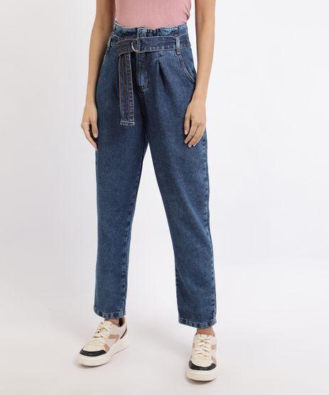 Calca-Jeans-Feminina-Clochard-Cintura-Super-Alta-com-Cinto-Azul-Escuro-9952626-Azul_Escuro_1