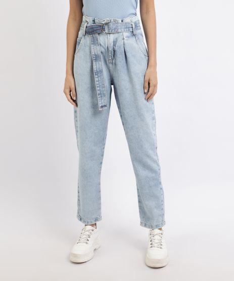 Calca-Jeans-Feminina-Clochard-Cintura-Super-Alta-com-Cinto-Azul-Claro-9952627-Azul_Claro_1