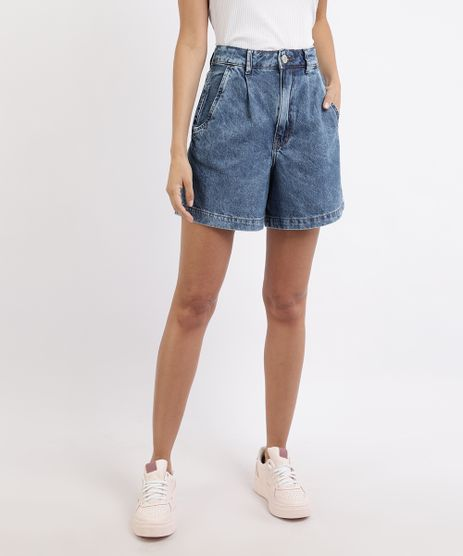 Bermuda-Jeans-Feminina-Cintura-Alta-Alfaiatada-com-Pregas-Azul-Medio-9960253-Azul_Medio_1