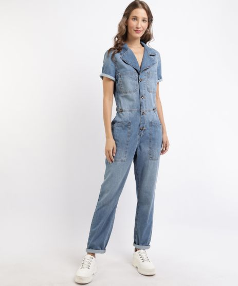 Macacao-Jeans-Feminino-com-Bolsos-Manga-Curta-Azul-Medio-9960256-Azul_Medio_1