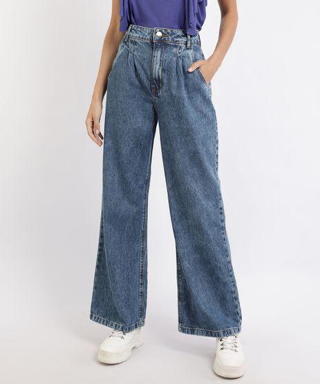 Calca-Jeans-Feminina-Pantalona-Wide-Cintura-Super-Alta-Alfaiatada-com-Pregas-Azul-Escuro-9960259-Azul_Escuro_1