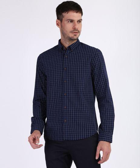 Camisa-Masculina-Comfort-Estampada-Xadrez-Manga-Longa-Azul-Marinho-9809553-Azul_Marinho_1