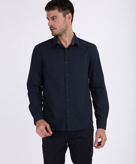 Camisa-Masculina-Tradicional-Estampada-Mini-Print-Manga-Longa-Azul-Marinho-9809571-Azul_Marinho_1