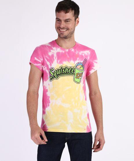 Camiseta-Masculina--Squishee--Estampada-Tie-Dye-Manga-Curta-Gola-Careca-Rosa-9947742-Rosa_1