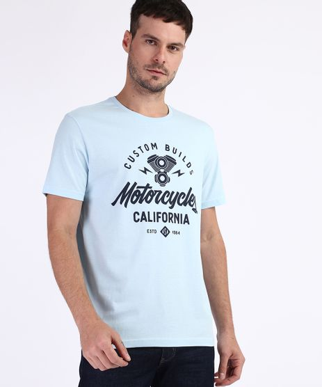 Camiseta-Masculina--Motorcycles-California--Manga-Curta-Gola-Careca-Azul-9960825-Azul_1