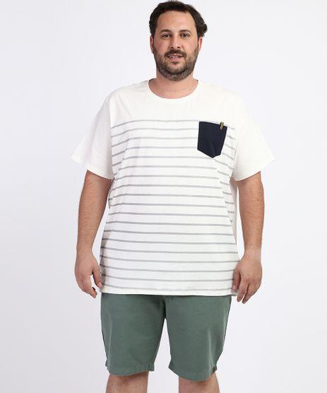 Camiseta-Masculina-Plus-Size-Estampada-Listrada-com-Bolso-Manga-Curta-Gola-Careca-Off-White-9952472-Off_White_1