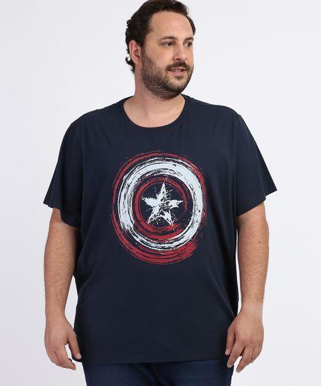 Camiseta-Masculina-Plus-Size-Capitao-America-Manga-Curta-Gola-Careca-Azul-Marinho-9953219-Azul_Marinho_1