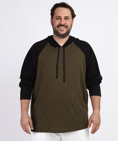 Camiseta-Masculina-Plus-Size-Manga-Longa-Raglan-com-Capuz-Verde-Militar-9962362-Verde_Militar_1