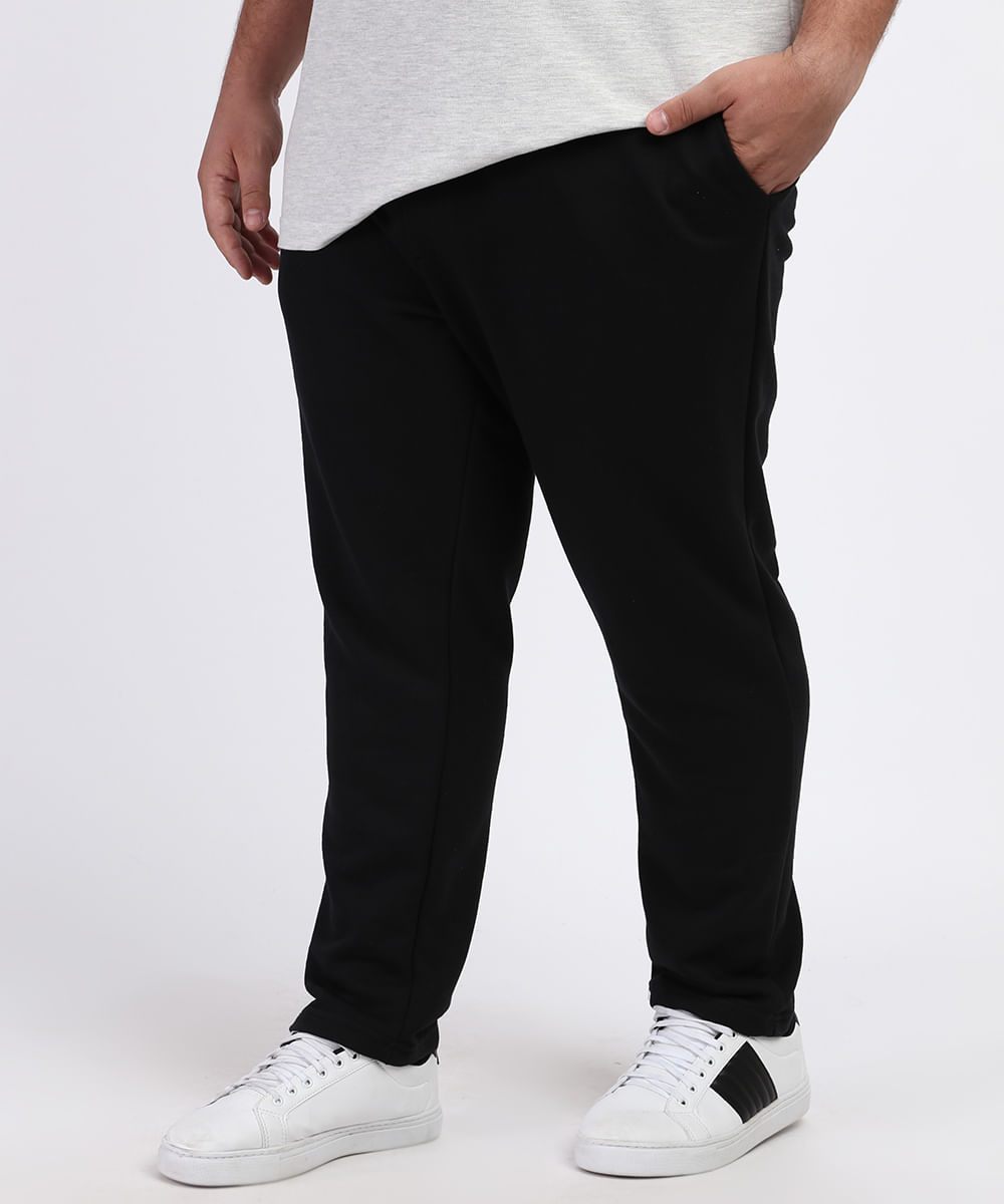 Calça Masculina Plus Size de Moletom Slim com Bolsos Preta