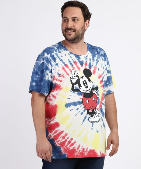 Camiseta-Masculina-Plus-Size-Mickey-Estampada-Tie-Dye-Manga-Curta-Gola-Careca-Azul-9963238-Azul_1