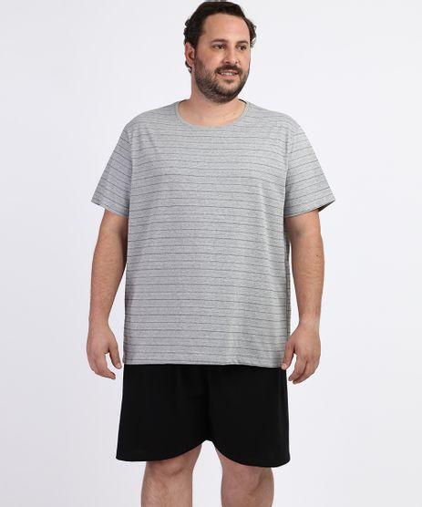 Pijama-Masculino-Plus-Size-Camiseta-Estampada-Listrada-Manga-Curta-Gola-Careca-Cinza-Mescla-9963326-Cinza_Mescla_1