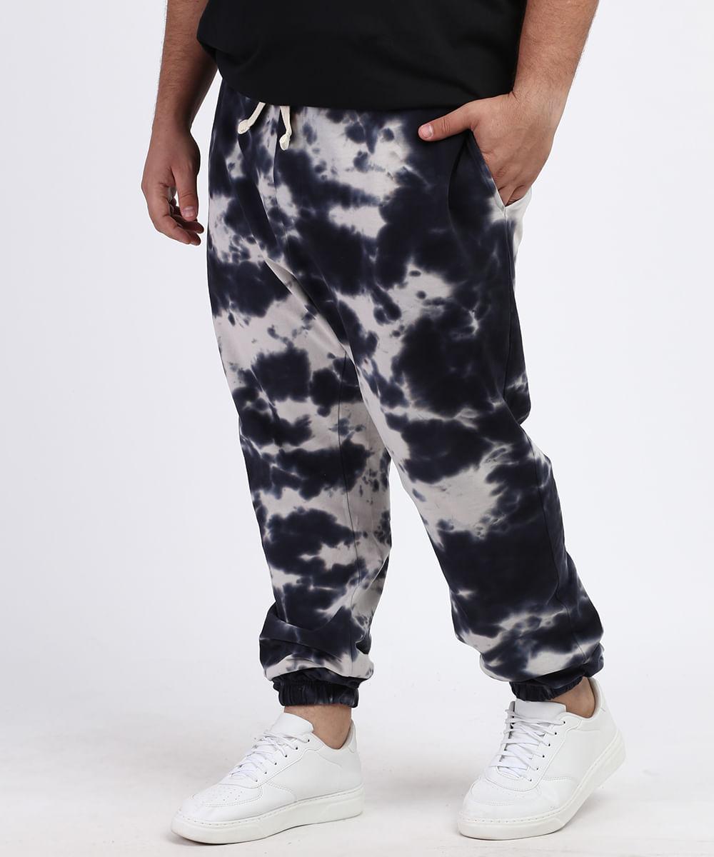 Calça Masculina Plus Size de Moletom Jogger Estampada Tie Dye com Bolsos Azul Marinho