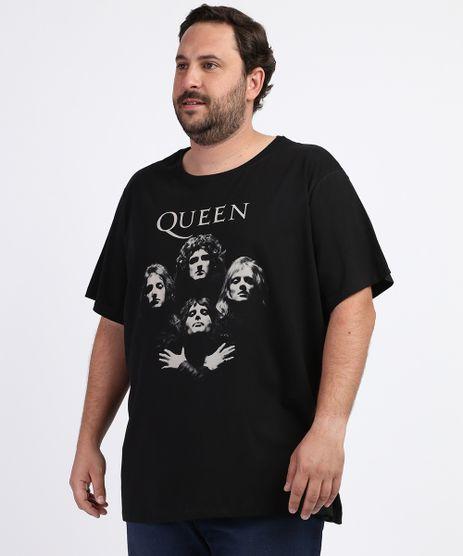 Camiseta-Masculina-Plus-Size-Queen-Manga-Curta-Gola-Careca-Preta-9964016-Preto_1