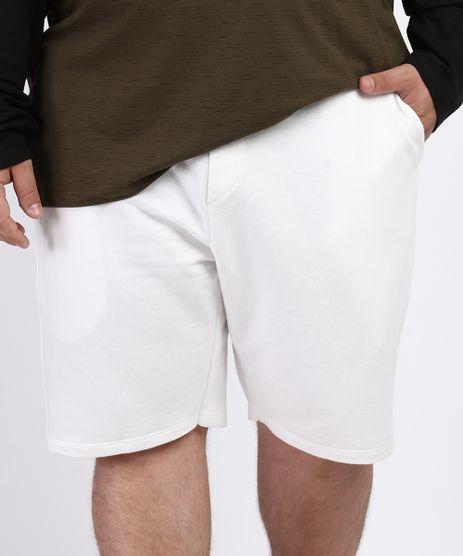 Bermuda-Masculina-Plus-Size-de-Moletom-com-Bolsos-Branca-9964487-Branco_1
