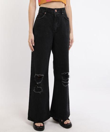 Calca-de-Sarja-Feminina-Wide-Pantalona-Cintura-Super-Alta-Destroyed-Preta-9962532-Preto_1