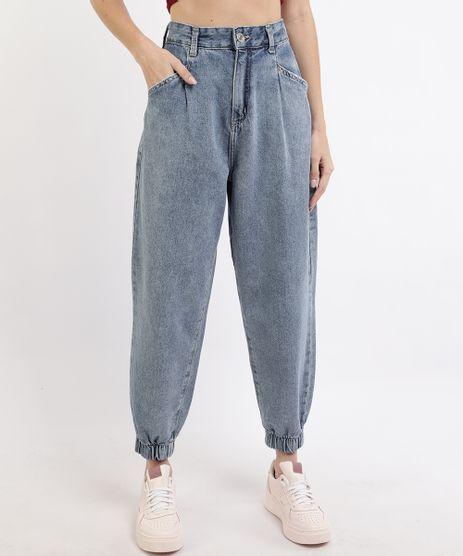 Calca-Jeans-Feminina-Jogger-Cintura-Super-Alta-com-Bolsos-Azul-Medio-9964129-Azul_Medio_1