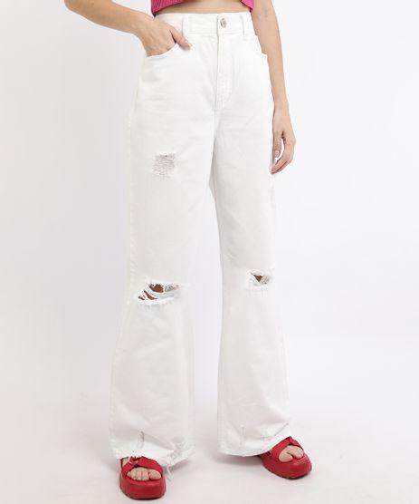 Calca-de-Sarja-Feminina-Wide-Pantalona-Cintura-Super-Alta-Destroyed-Branca-9962533-Branco_1