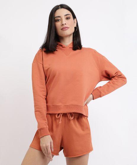 Kit-de-Blusao-em-Moletom-Feminino-Basico-com-Capuz---Short--Cobre-9962580-Cobre_1