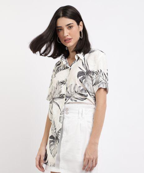 Camisa-Feminina-Ampla-Estampada-de-Folhagens-Manga-Curta--Branca-9957565-Branco_1