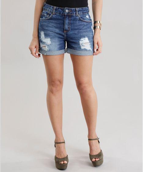94190f316 Short-Jeans-Reto-High-Azul-Escuro-8701247-Azul Escuro 1 ...