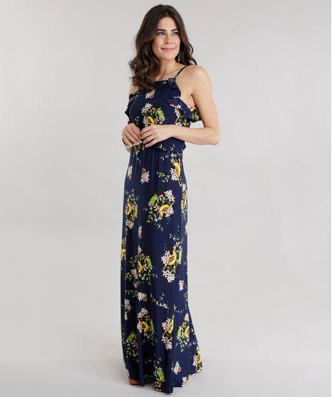 dcdd2f89450b Vestido Longo Estampado Floral com Babados Azul Marinho - cea