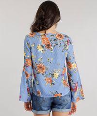 6195cd023 Blusa Estampada Floral com Nó Azul Claro - ceacollections