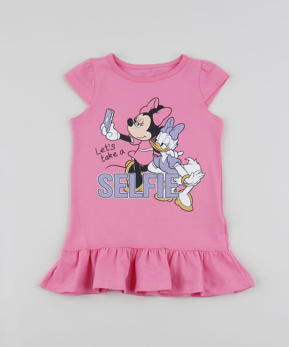 Vestido Infantil Minnie e Margarida com Babados Manga Curta Pink