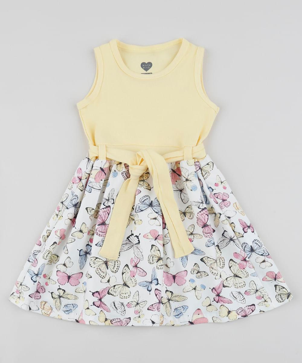 Vestido Infantil Borboletas Sem Manga com Faixa para Amarrar Amarelo