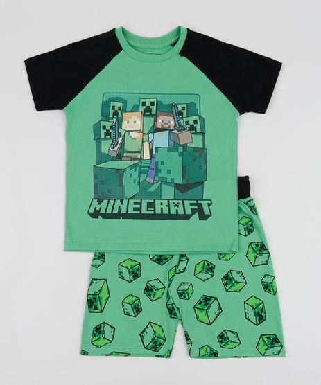 Pijama-Infantil-Minecraft-Manga-Curta-Gola-Careca-Verde-9942705-Verde_1