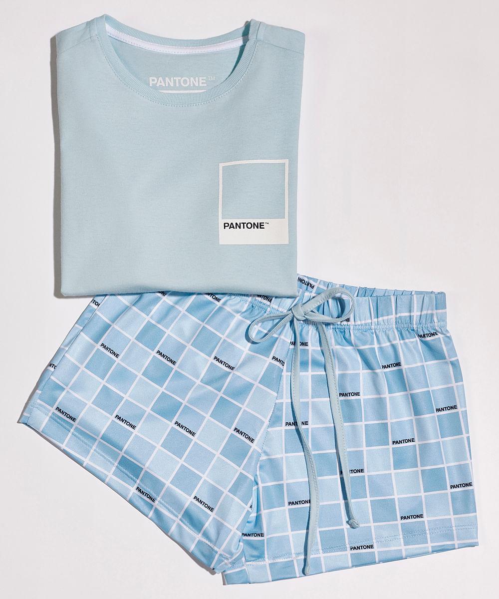 Pijama Infantil Pantone Tal Mãe Tal Filha com Estampa Quadriculada Manga Curta Azul Claro