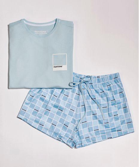Pijama-Juvenil-Pantone-Tal-Mae-Tal-Filha-com-Estampa-Quadriculada-Manga-Curta-Azul-Claro-9959158-Azul_Claro_1