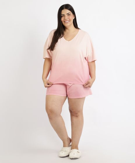 Pijama-Feminino-Plus-Size-Degrade-Manga-Curta-Coral-9958867-Coral_1